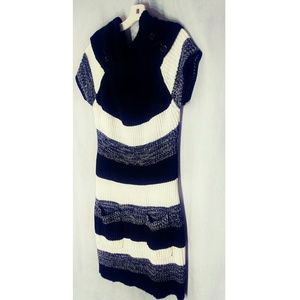 Extra Touch Black White Striped Sweater Dress